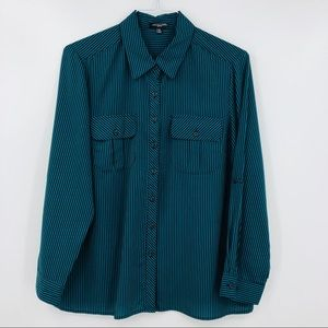 NOTATIONS PETITE Green Striped Button Down Shirt